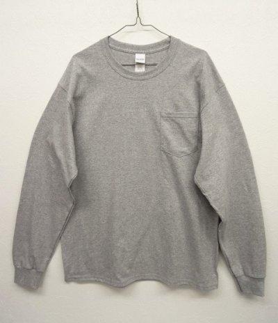 画像1: GILDAN ポケット付き ロングスリーブ Tシャツ GREY (NEW)