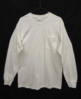 GILDAN ポケット付き ロングスリーブ Tシャツ WHITE (NEW)