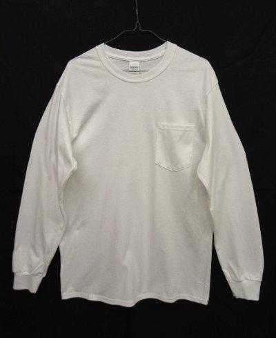 画像1: GILDAN ポケット付き ロングスリーブ Tシャツ WHITE (NEW)