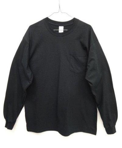画像1: GILDAN ポケット付き ロングスリーブ Tシャツ BLACK (NEW)