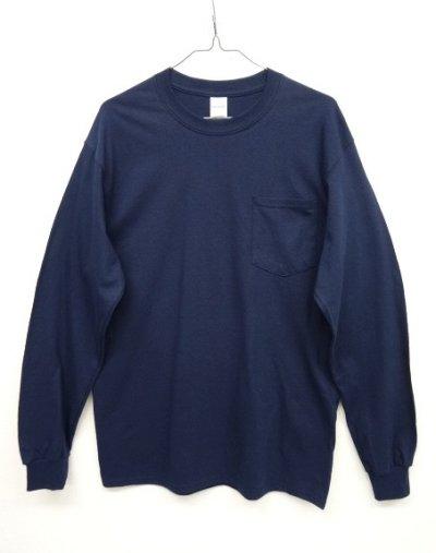 画像1: GILDAN ポケット付き ロングスリーブ Tシャツ NAVY (NEW)