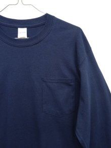 他の写真2: GILDAN ポケット付き ロングスリーブ Tシャツ NAVY (NEW)