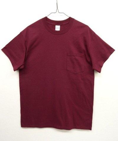 画像1: GILDAN ポケット付き 半袖 Tシャツ BURGUNDY (NEW)