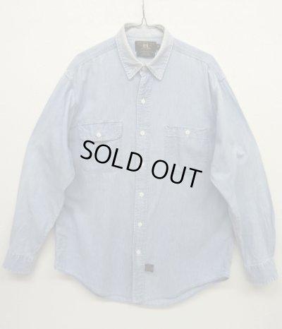 画像1: 90'S RRL 初期 三ツ星タグ シャンブレー ワークシャツ (VINTAGE)