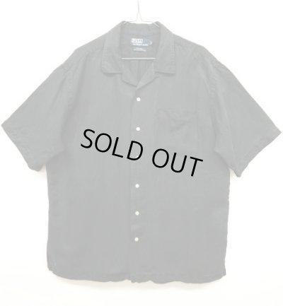 画像1: 90'S RALPH LAUREN シルク/リネン 半袖 オープンカラーシャツ BLACK (VINTAGE)