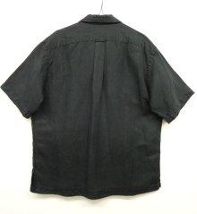 他の写真3: 90'S RALPH LAUREN シルク/リネン 半袖 オープンカラーシャツ BLACK (VINTAGE)