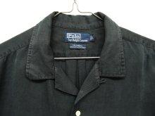他の写真1: 90'S RALPH LAUREN シルク/リネン 半袖 オープンカラーシャツ BLACK (VINTAGE)
