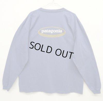 画像1: 90'S PATAGONIA 黒タグ バックプリント オーバルロゴ 長袖Tシャツ USA製 (VINTAGE)