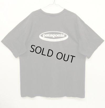 画像1: 90'S PATAGONIA 雪無し 黒タグ オーバルロゴ Tシャツ ブラック USA製 (VINTAGE)