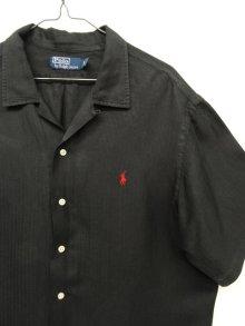 他の写真2: 90'S RALPH LAUREN ヘリンボーン シルク/リネン 半袖 オープンカラーシャツ BLACK (VINTAGE)
