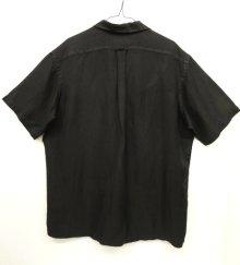 他の写真3: 90'S RALPH LAUREN ヘリンボーン シルク/リネン 半袖 オープンカラーシャツ BLACK (VINTAGE)