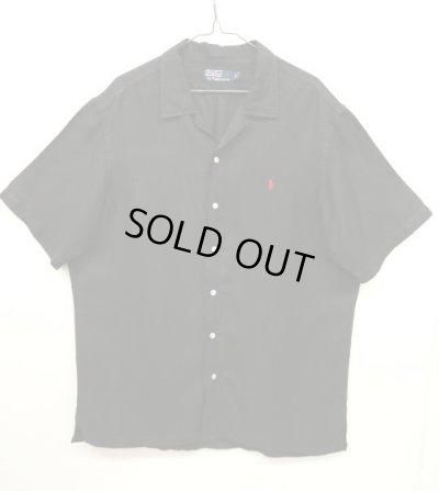 画像1: 90'S RALPH LAUREN ヘリンボーン シルク/リネン 半袖 オープンカラーシャツ BLACK (VINTAGE)