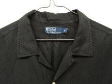 他の写真1: 90'S RALPH LAUREN ヘリンボーン シルク/リネン 半袖 オープンカラーシャツ BLACK (VINTAGE)