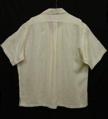 """他の写真3: 90'S RALPH LAUREN """"CALDWELL"""" リネン 半袖 オープンカラーシャツ 刺繍入り ホワイト (VINTAGE)"""