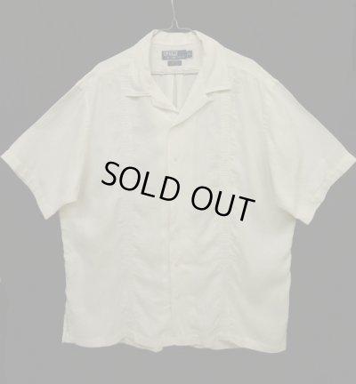 """画像1: 90'S RALPH LAUREN """"CALDWELL"""" リネン 半袖 オープンカラーシャツ 刺繍入り ホワイト (VINTAGE)"""