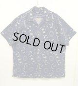 "90'S RALPH LAUREN ""VINTAGE CAMP"" リネン 半袖 オープンカラーシャツ インディゴ総柄 (VINTAGE)"