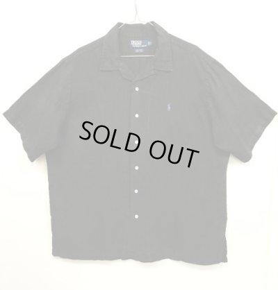 """画像1: 90'S RALPH LAUREN """"CALDWELL"""" リネン 半袖 オープンカラーシャツ BLACK (VINTAGE)"""