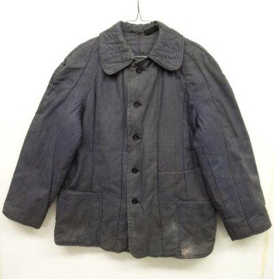 画像1: ユーロワーク 中綿入り ワークジャケット カバーオール ブルーグレー (VINTAGE)