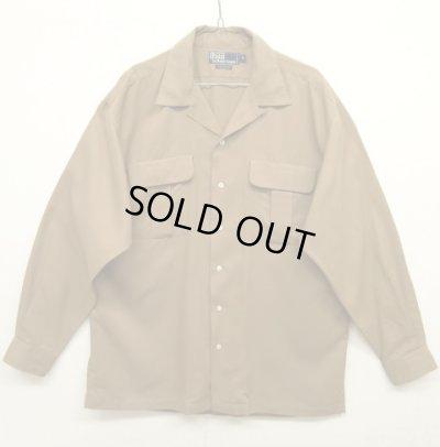 画像1: 90'S RALPH LAUREN レーヨン100% オープンカラーシャツ BEIGE (VINTAGE)