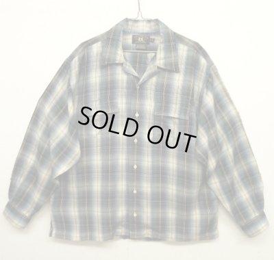 画像1: 90'S RRL 初期 三ツ星タグ レーヨン オープンカラーシャツ オンブレチェック (VINTAGE)