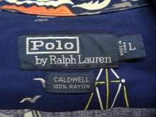 """他の写真1: 90'S RALPH LAUREN """"CALDWELL"""" レーヨン 半袖 オープンカラーシャツ ネイビー (VINTAGE)"""