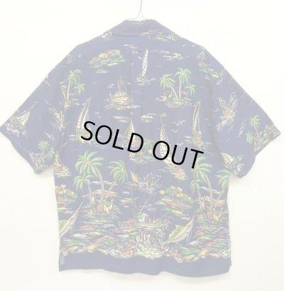 """画像2: 90'S RALPH LAUREN """"CALDWELL"""" レーヨン 半袖 オープンカラーシャツ ネイビー (VINTAGE)"""